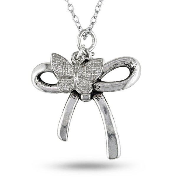 Miadora White Brass with Hanging Butterfly Charm Bow Pendant