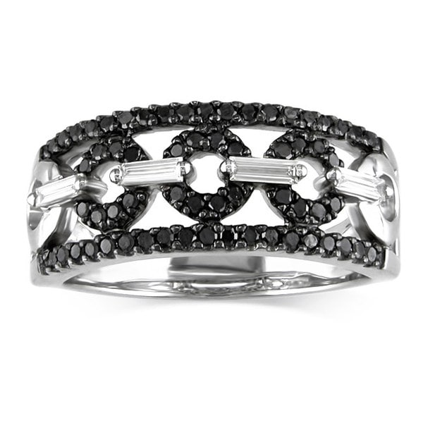 Miadora Signature Collection 14K White Gold 1/2 ct TDW Black/White Diamond Ring (G-H, I1-I2)