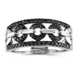 Miadora Signature Collection 14K White Gold 1/2 ct TDW Black/White Diamond Ring