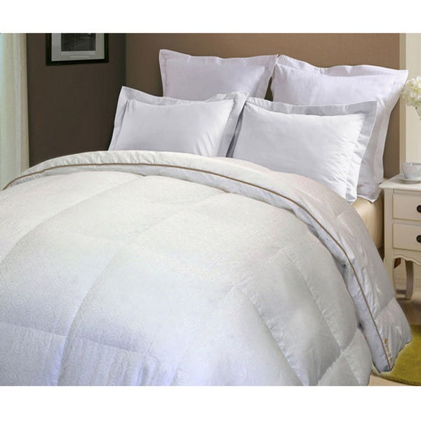 Royal Luxe 500 Thread Count Jacquard White Down Comforter