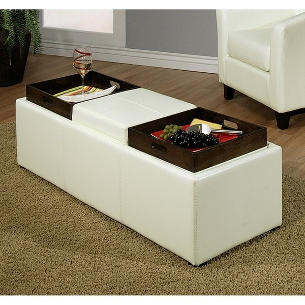 Abbyson Living Manhattan Bicast Leather Ottoman with 3 Trays