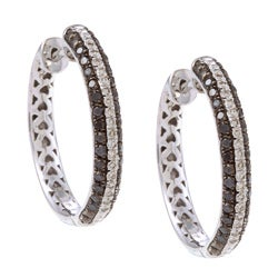 Victoria Kay Sterling Silver 1/2ct TDW Black and White Diamond Hoop Earrings (J-K, I2-I3)