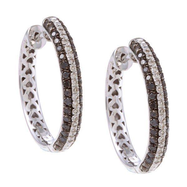 3137f249c Victoria Kay Sterling Silver 1/2ct TDW Black and White Diamond Hoop  Earrings (J-K