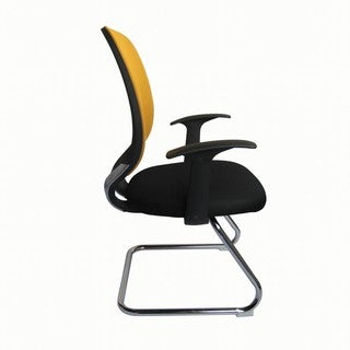 Foust Contemporary Yellow Mesh Visitor Chair
