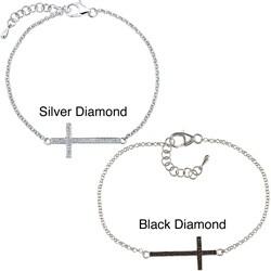 Victoria Kay Sterling Silver 1/8ct TDW Diamond Cross Bracelet