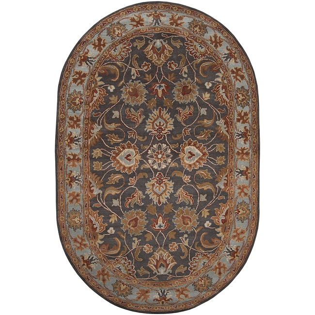 Hand-tufted Akaishi Wool Area Rug (8' x 10' Oval)