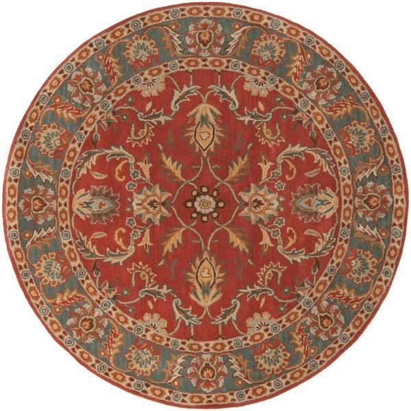 Hand-tufted Kiso Rust Traditional Border Wool Area Rug (6