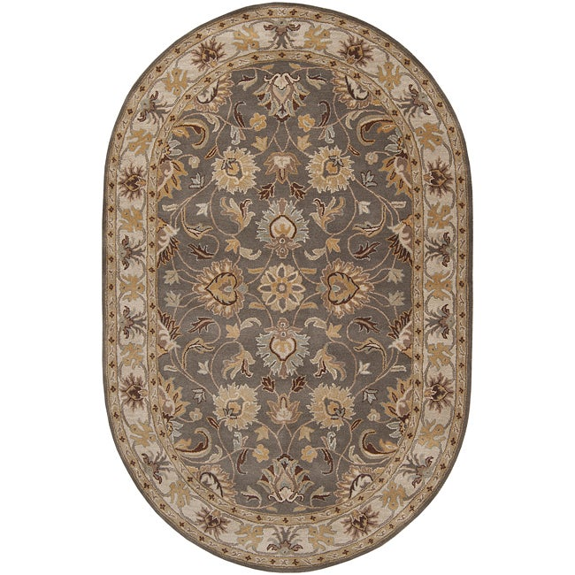 Hand-tufted Hida Gray Traditional Border Wool Rug (8' x 10' Oval)