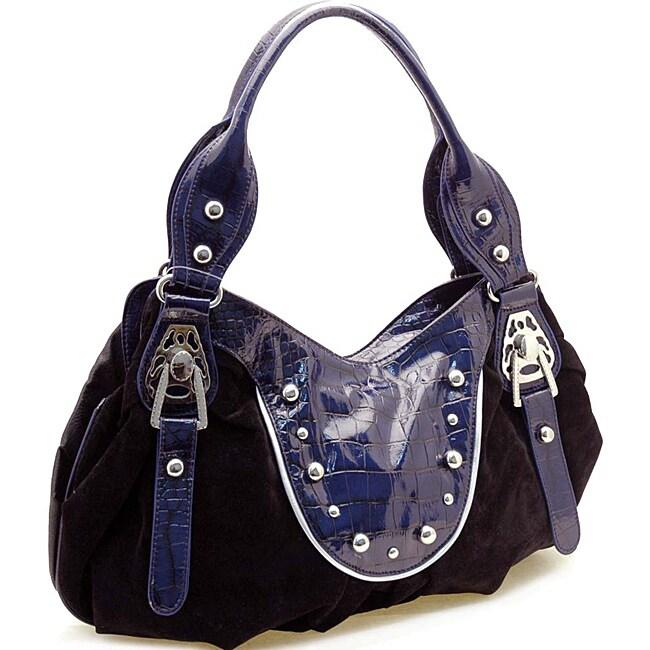 Faux Suede Stud Accent Shoulder Bag