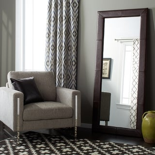 Delano Transitional Dark Brown Leather Floor Mirror By Abbyson