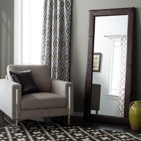 Abbyson Delano Dark Brown Leather Floor Mirror