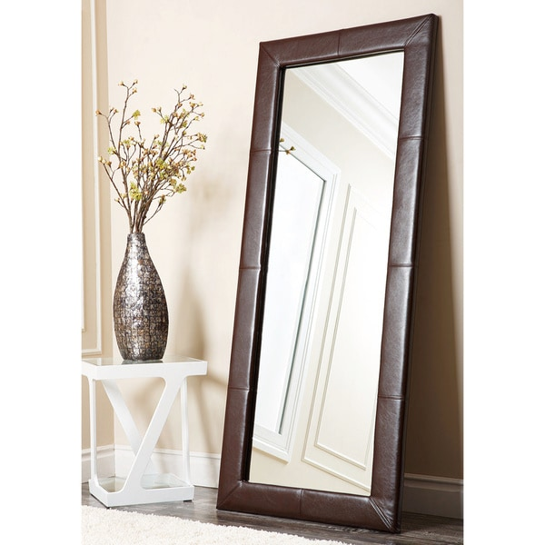 Abbyson Delano Dark Brown Leather Floor Mirror