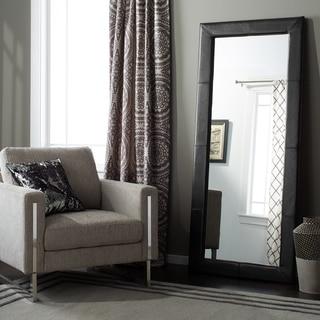 Abbyson Delano Black Leather Floor Mirror