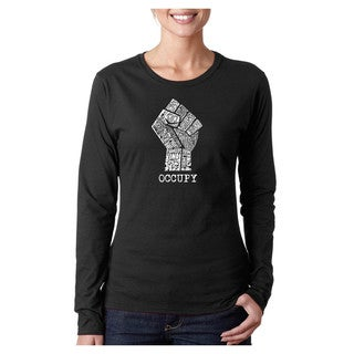 Los Angeles Pop Art Women's Occupy Wall Street Long Sleeves Shirt