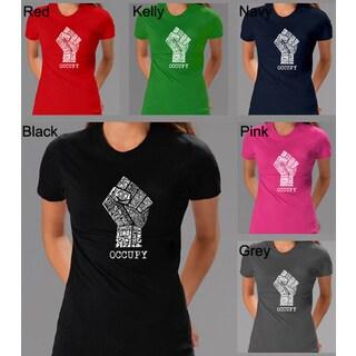 Los Angeles Pop Art Women's Occupy Wall Street Fight The Power T-shirt