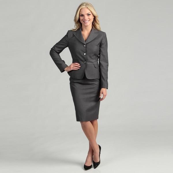 tahari s grey white 3 button skirt suit free