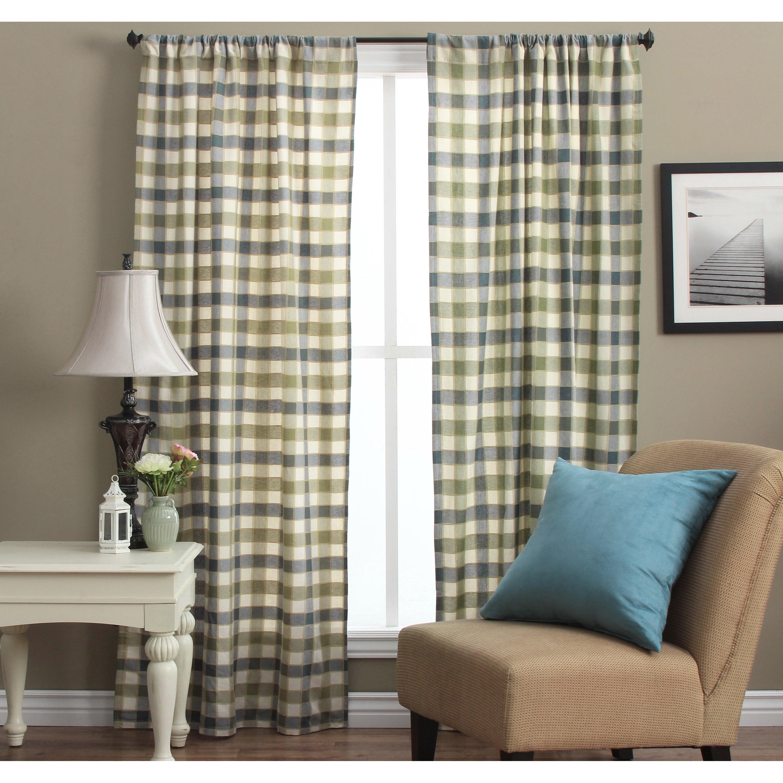 Ricardo Plymouth Plaid 63-inch Woven Tailored Curtain Pan...