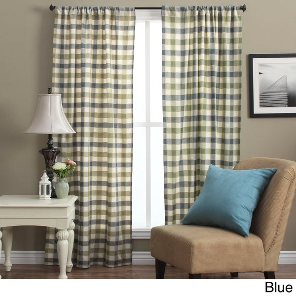Plymouth Plaid 63 Inch Woven Tailored Curtain Panels Set