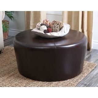 Abbyson Living Montgomery Dark Brown Leather Round Ottoman