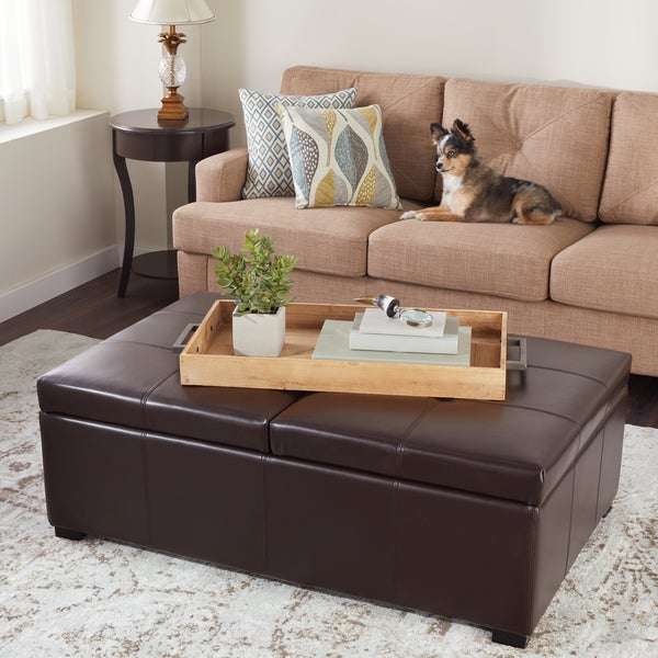 Abbyson Frankfurt Dark Brown Leather Double Flip Top Storage Ottoman
