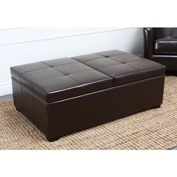 Abbyson Frankfurt Dark Brown Leather Double Flip-top Storage Ottoman - Abbyson Frankfurt Dark Brown Leather Double Flip-top Storage