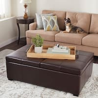 Abbyson Frankfurt Dark Brown Leather Double Flip-top Storage Ottoman