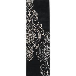 Hand-tufted Bondy Damask Pattern Wool Rug (2'6 x 8')