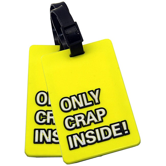 Naftali Yellow 'Only Crap Inside!' Rubber Luggage ID Tag (set of 2)