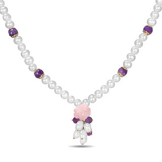 Miadora Sterling Silver Multi Gemstone White Pearl Necklace