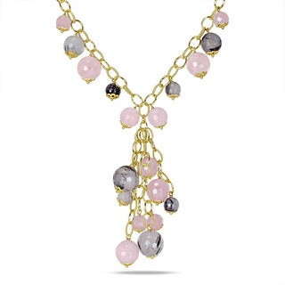 Miadora Pink Plated Silver Rose and Black Rutilated Quartz Necklace