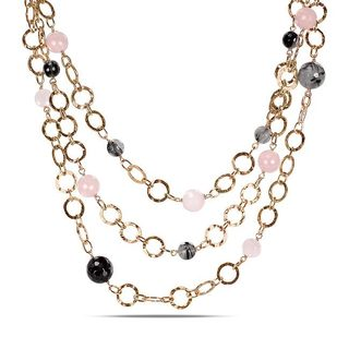 Miadora Sterling Silver Rose Quartz and Rutilated Quartz Loop Necklace