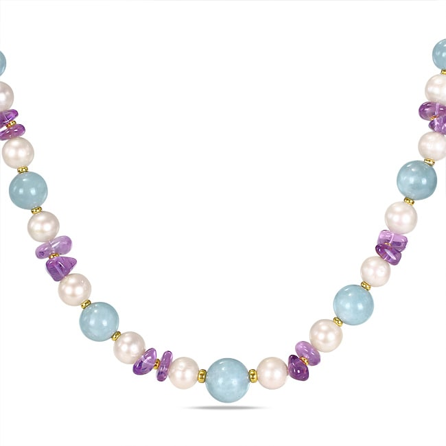 Miadora Sterling Silver 51ct TGW Multicolor Gemstone Pearl Necklace