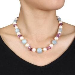 Miadora Sterling Silver 51ct TGW Multicolor Gemstone Pearl Necklace - Thumbnail 2
