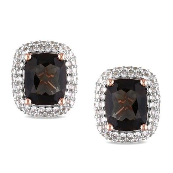 Miadora Pink Silver 6 1/10 ct TGW Multi Gemstone Stud Earrings