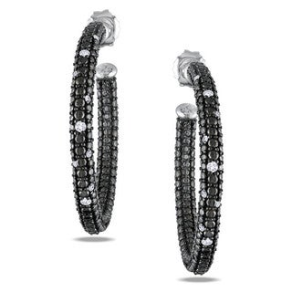 Sterling Silver 1/4ct TDW Diamond Hoop Earrings