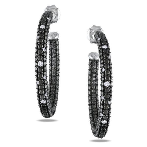 Sterling Silver 1/4ct TDW Diamond Hoop Earrings (G-H, I2-I3)