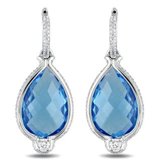 Miadora Signature Collection 14k White Gold 16 4/5 ct TGW Blue Topaz 1 1/10 ct TDW Earrings (G-H)