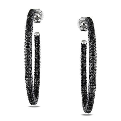 Miadora Sterling Silver 1/2 ct TDW Black Diamond Hoop Earrings