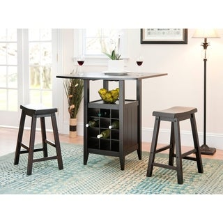 Safavieh Winery 3-piece Counter-Height Brown Storage Pub Set  sc 1 st  Overstock.com & Bar u0026 Pub Table Sets For Less | Overstock.com
