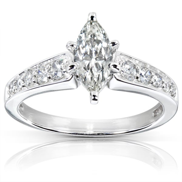 Annello by Kobelli 14k Gold 1 1/10ct TDW Marquise Diamond Engagement Ring (J, SI1-SI2)