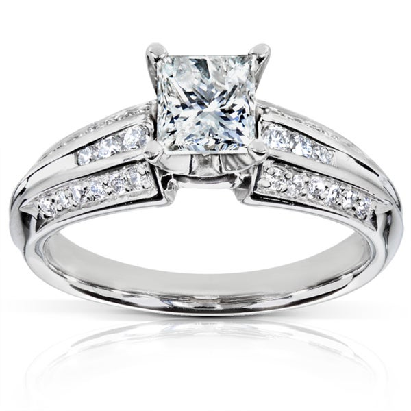 Annello by Kobelli Palladium 1ct TDW Princess Cut Diamond Ring