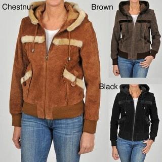 Knoles & Carter Women's Plus Size Suede Sherpa Hood Bomber Jacket