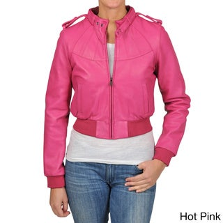 Knoles & Carter Women's Plus Size Bomber Leather Jacket
