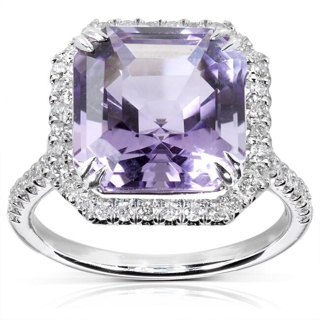 Annello by Kobelli 10k White Gold Amethyst and 3/8ct TDW Diamond Ring (H-I, I1-I2)