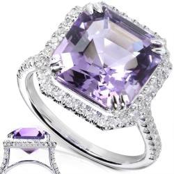 Annello by Kobelli 10k White Gold Amethyst and 3/8ct TDW Diamond Ring (H-I, I1-I2) - Thumbnail 1