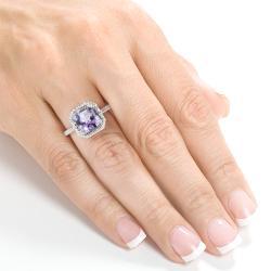 Annello by Kobelli 10k White Gold Amethyst and 3/8ct TDW Diamond Ring (H-I, I1-I2) - Thumbnail 2