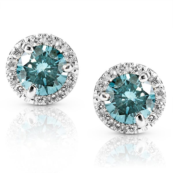 Annello by Kobelli 14k Gold 1 1/4ct TDW Blue and White Diamond Earrings (G-H, SI1-SI2)