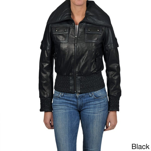 Knoles & Carter Women's Plus Size Leather Smocked Perforated Cropped Jacket