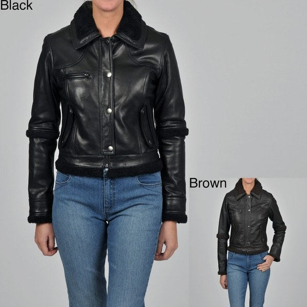 Knoles & Carter Women's Plus Size Leather Faux Sherpa-lined Cropped Jacket