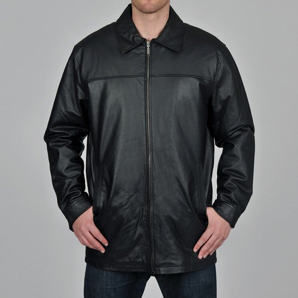 Knoles & Carter Men's Black Long Chest Zip Open-Bottom Leather Jacket